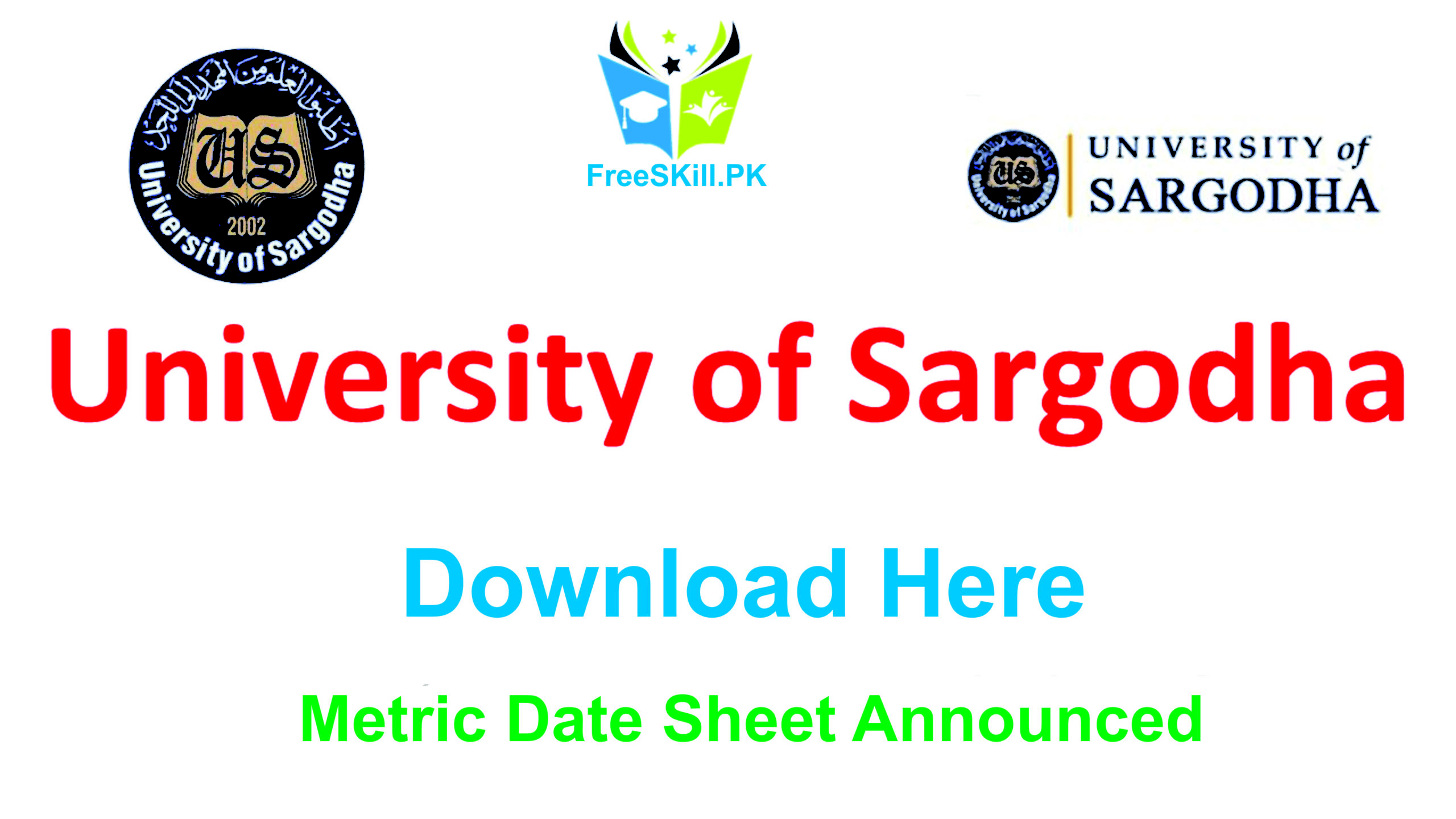 Photo of Sargodha University Date Sheet 2020 Metric FA, BA, B.Sc, B.Com Download