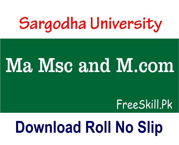 Sargodha Board Roll Number Slip 2021 Ma Msc M.Com