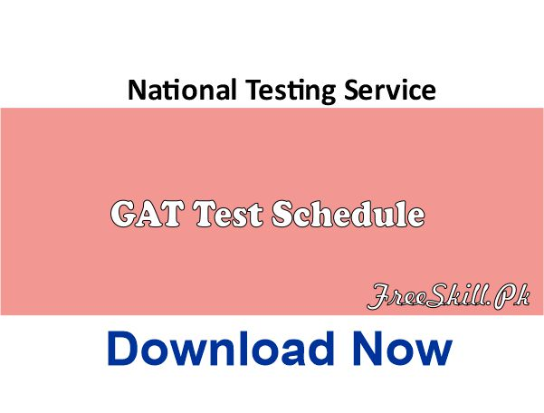 NTS GAT Test Schedule 2021 Subject