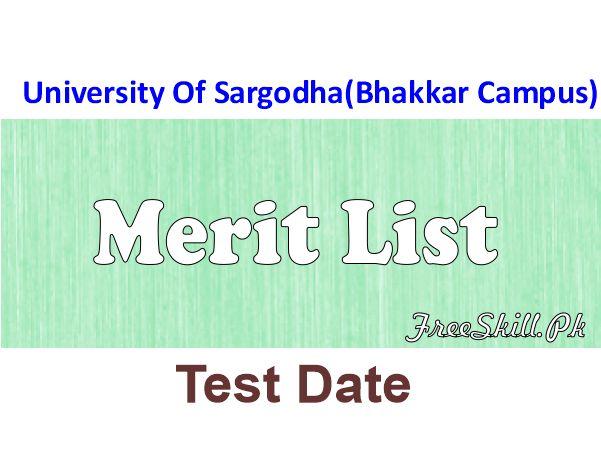 UOS Bhakkar Campus Merit List 2021 Online Check