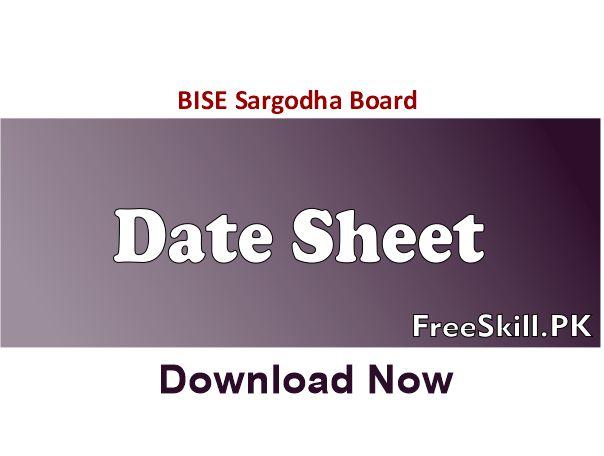 Sargodha Board Matric Date Sheet
