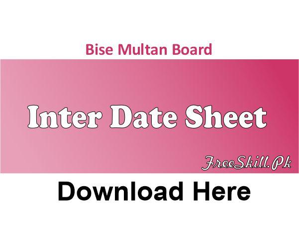 Bise Multan Board Inter Date Sheet